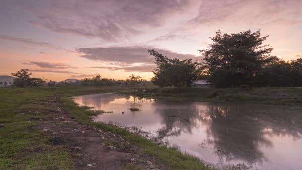 Timelapse little village with amazing sunrise