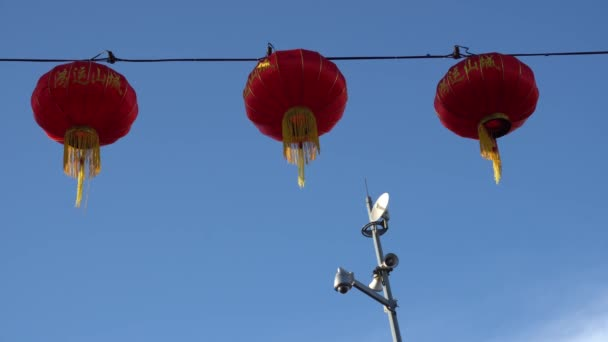 Red lantern with background cctv.