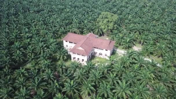 Aerial view 99 doors mansion. Heritage colonial building is abandoned decade.