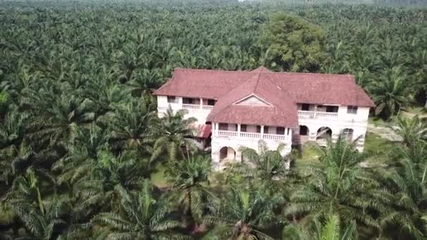 Aerial old haunted abandoned house 99 door mansion,