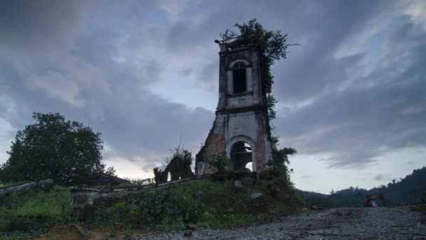 Time lapse sunset from day to night at the dilapidated church