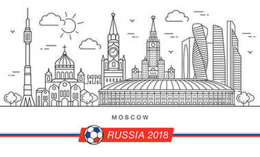 Sights of Moscow World Cup 2018. Vector illustration