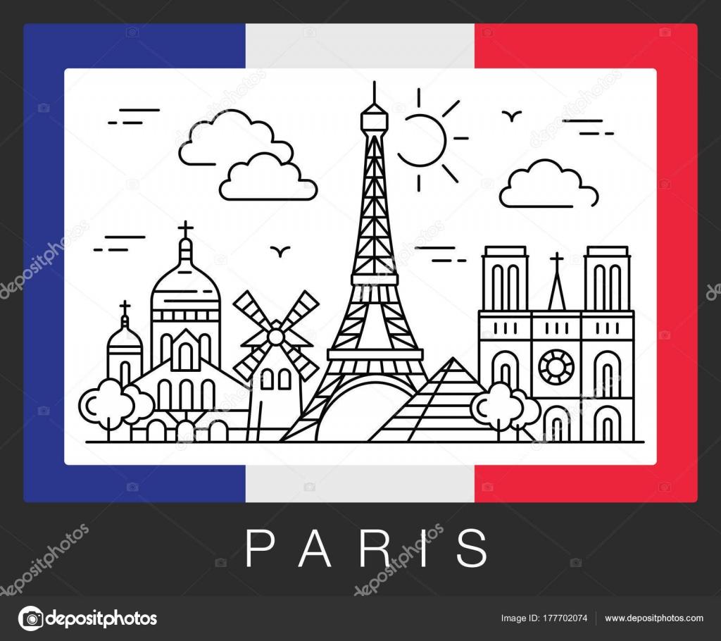 Parigi Francia Attrazioni Della Citta E La Bandiera Della Francia