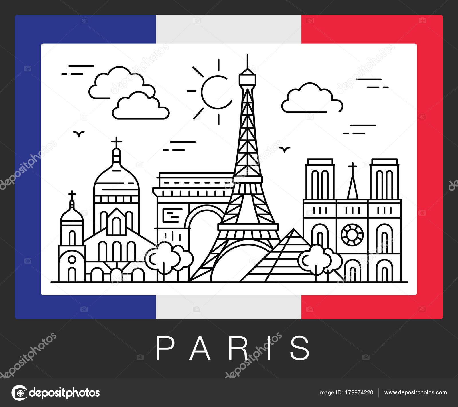 París, Francia. Atracciones de la ciudad y la bandera de Francia ...