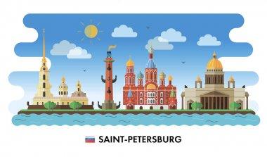 Saint-Petersburg, Russia. Vector illustration of city sights clip art vector