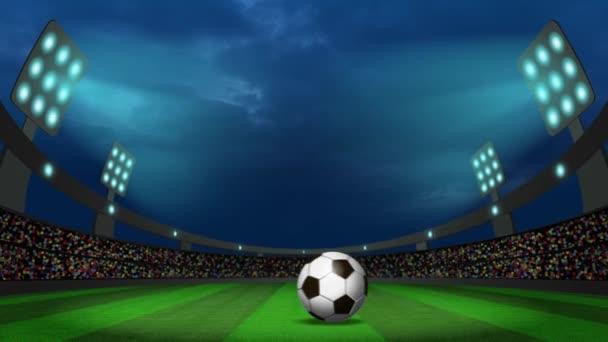 Noční pohled na fotbalovém stadionu s míčem