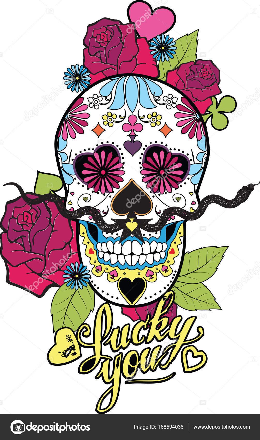 Brilliant Mexikanischer Totenkopf Dekoration Von Mexikanische Mit Blumen Und Schlange — Stockvektor