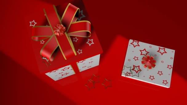 3D render karácsonyi ajándék dobozok piros üveg háttér