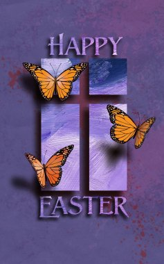 Happy Easter Butterflies with Christian Cross