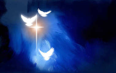 Spiritual Doves and salvation cross of Calvary