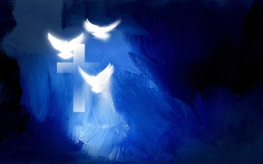 Christian cross with glowing doves graphic
