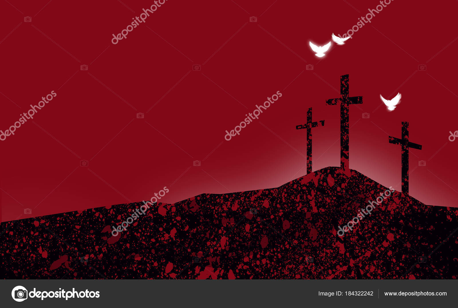 graphic christian crosses of jesus abstract landscape with spiritual