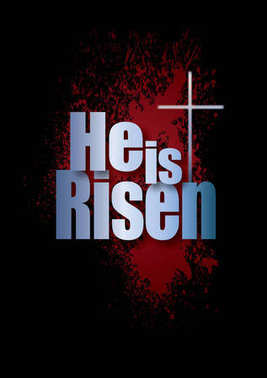 He is Risen Easter Easter graphic with spatter and cross