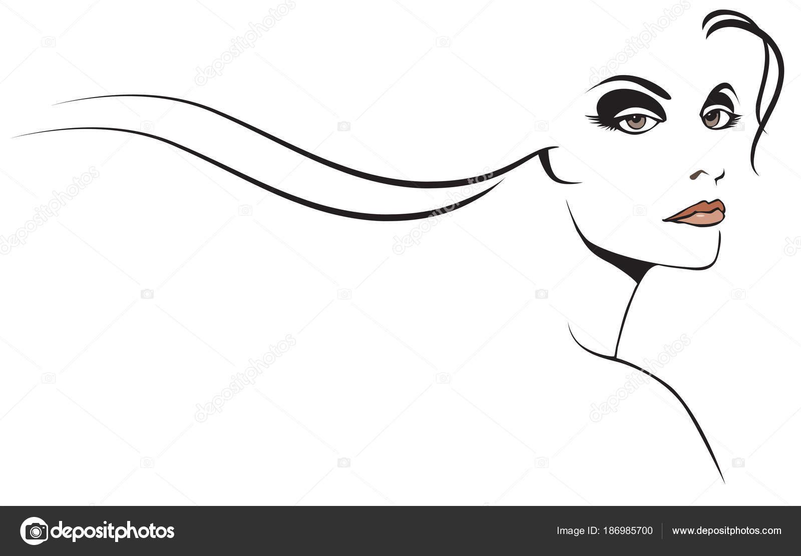 Bellezza Donna Grafico Con Lunghi Capelli Stilizzati Vettoriali