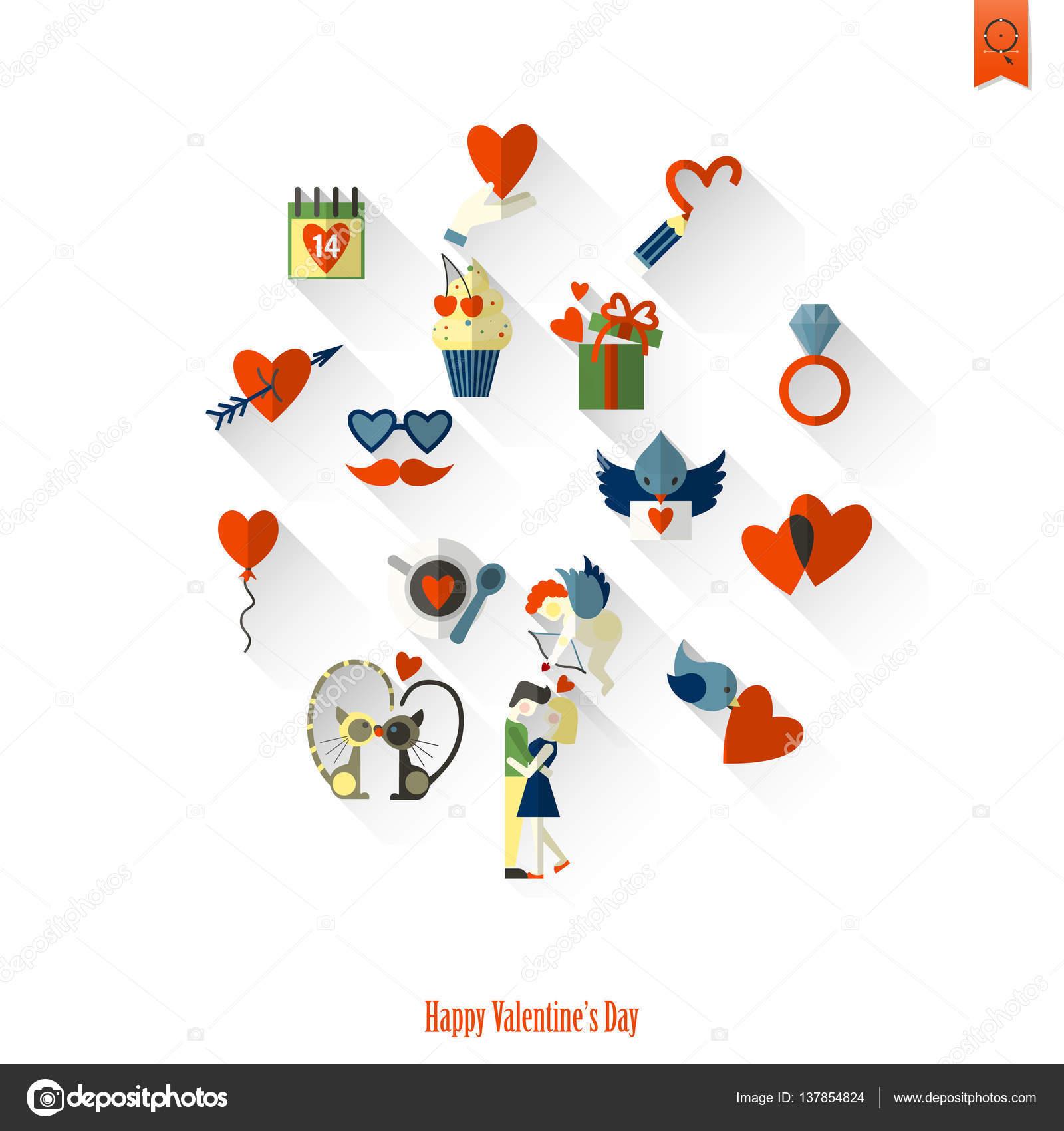 Happy Valentines Day Icons Stock Vector C Helenstock 137854824