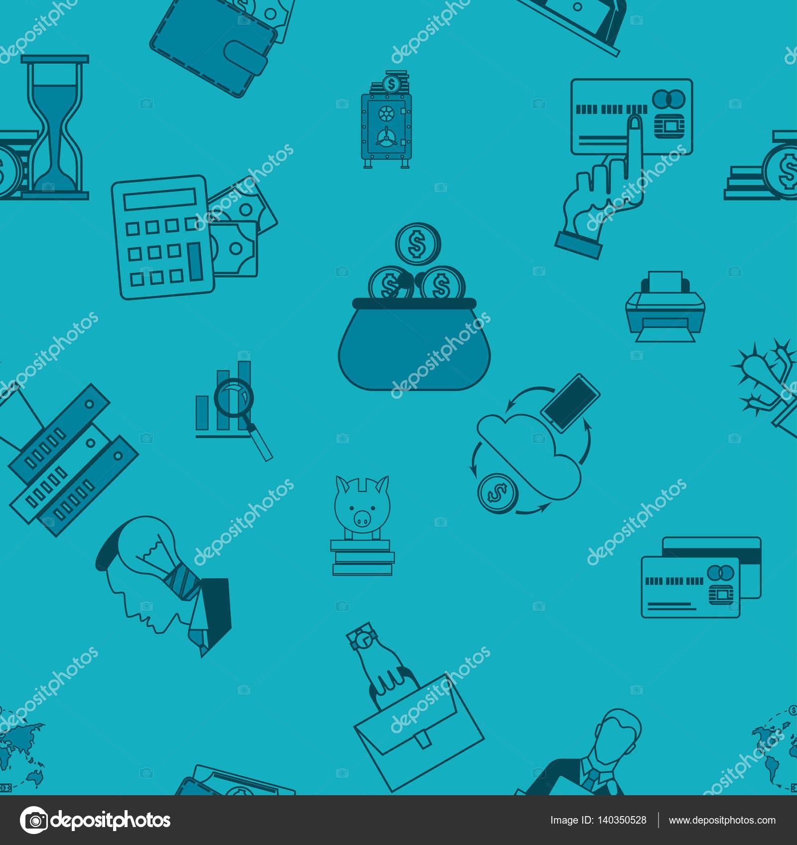 Wirtschaft Und Finanzen Nahtlose Muster Stockvektor Helenstock