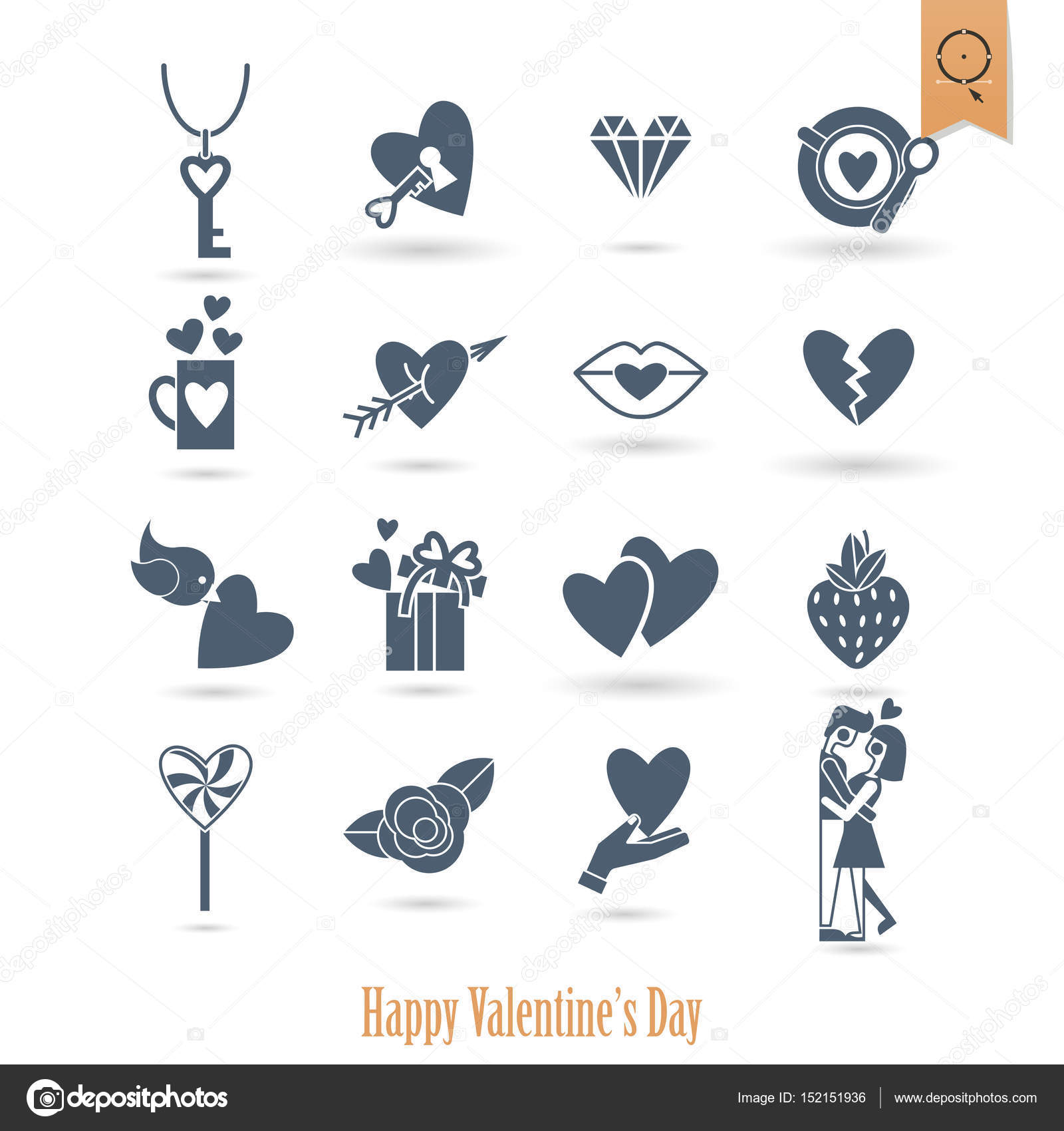 Happy Valentines Day Icons Stock Vector C Helenstock 152151936