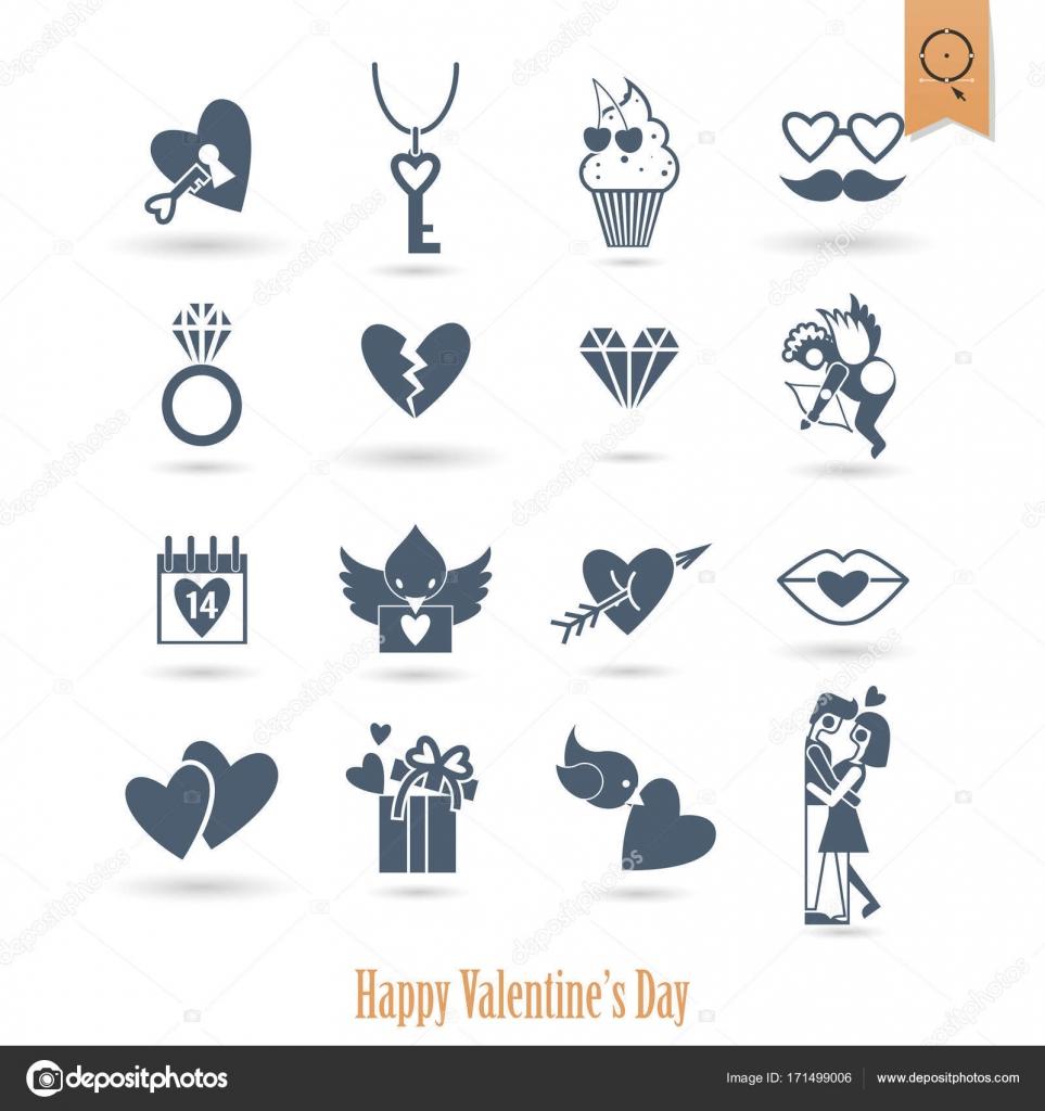 Happy Valentines Day Icons Stock Vector C Helenstock 171499006