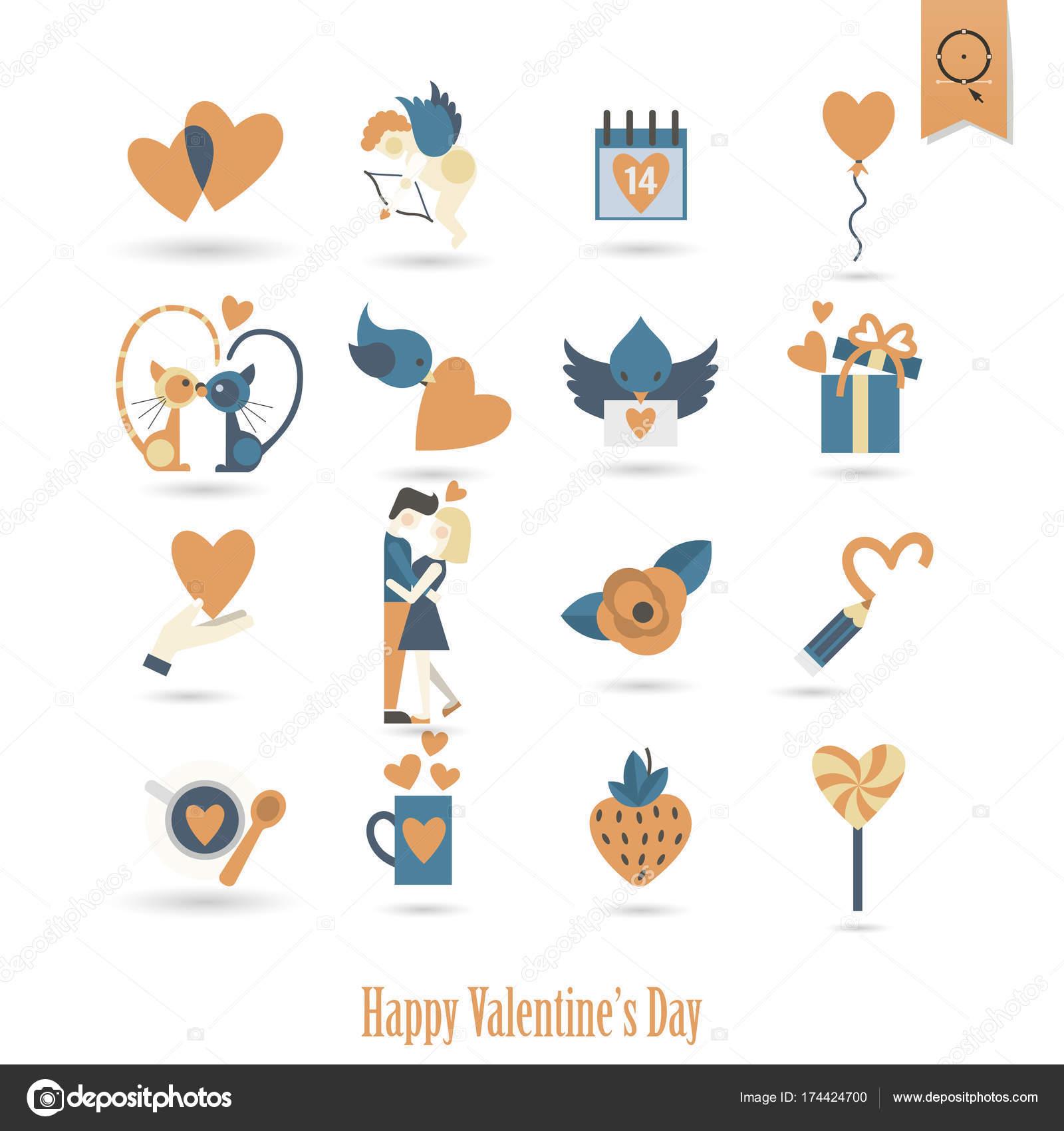 Happy Valentines Day Icons Stock Vector C Helenstock 174424700