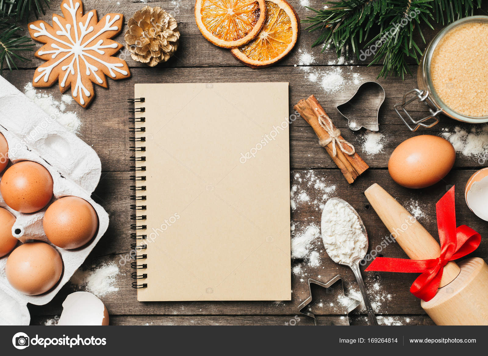 Xmas Baking Or Cooking Background Text Space Top View Stock