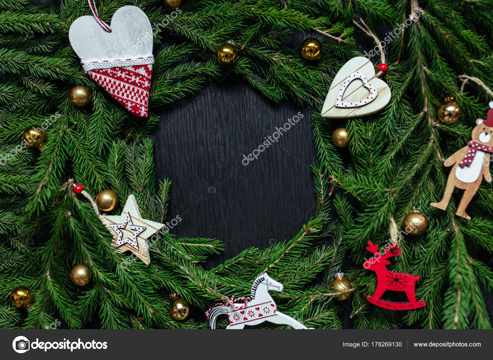Christmas Background Black Real Tree Text Toys Stock Photo