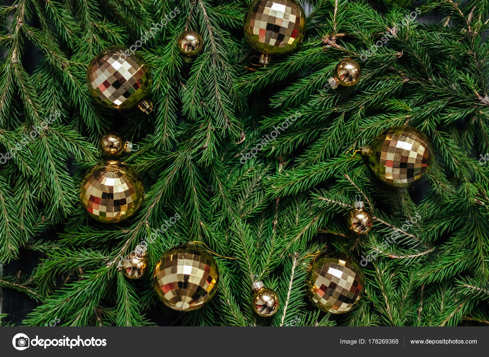 Christmas Background Green Real Tree Text Toys Stock Photo