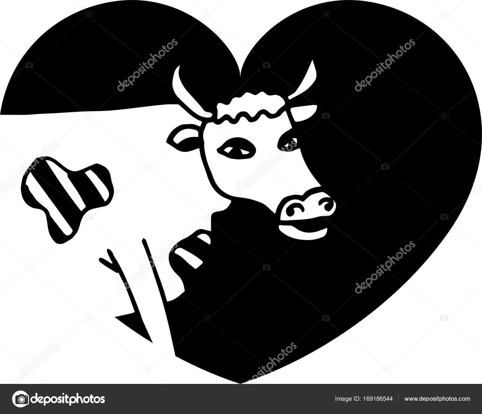 Cute cow  Head of cow in heart  — Stock Vector