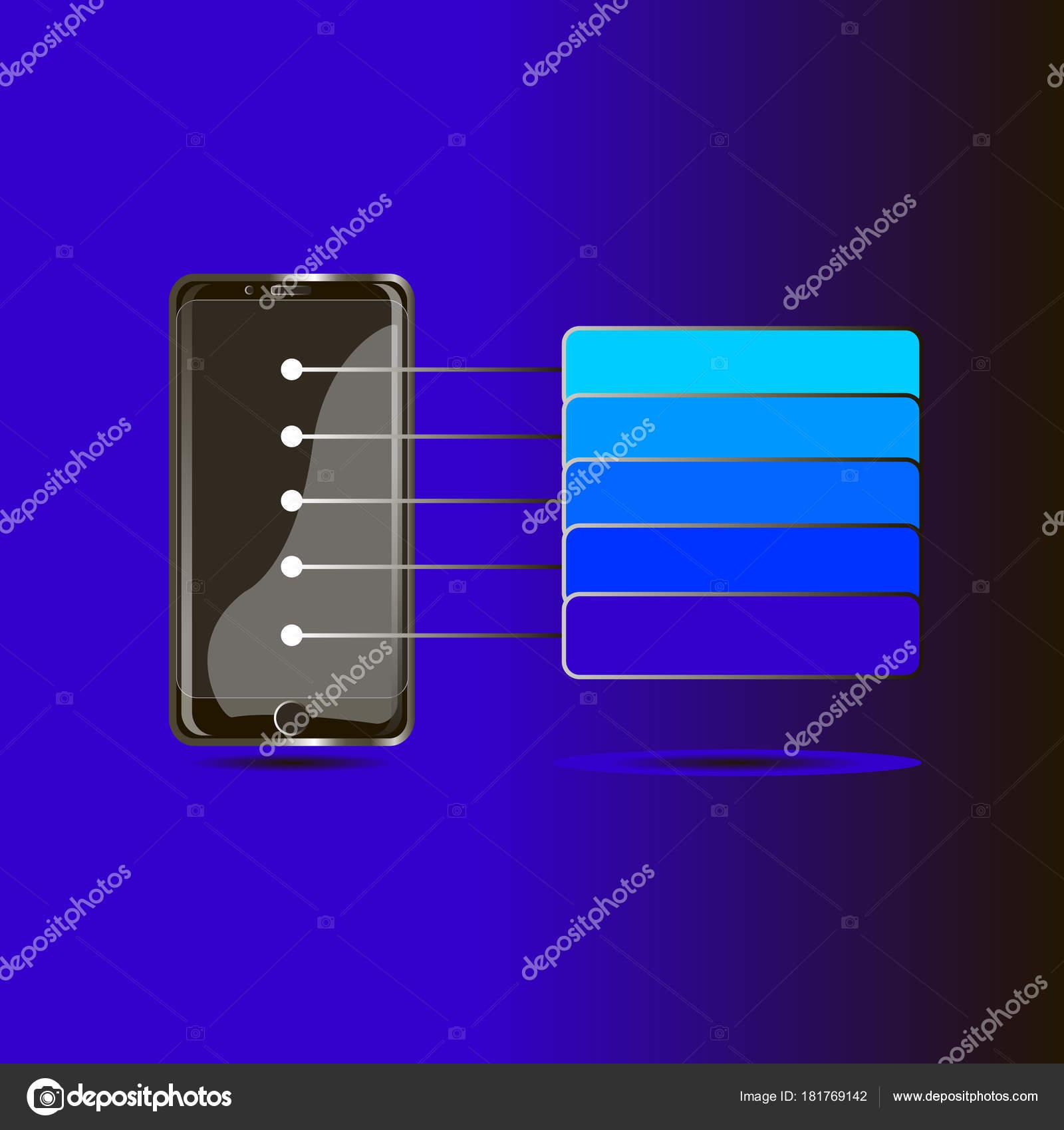 Telefono Originale Nero Sue Nuove Caratteristiche Uno Sfondo Blu
