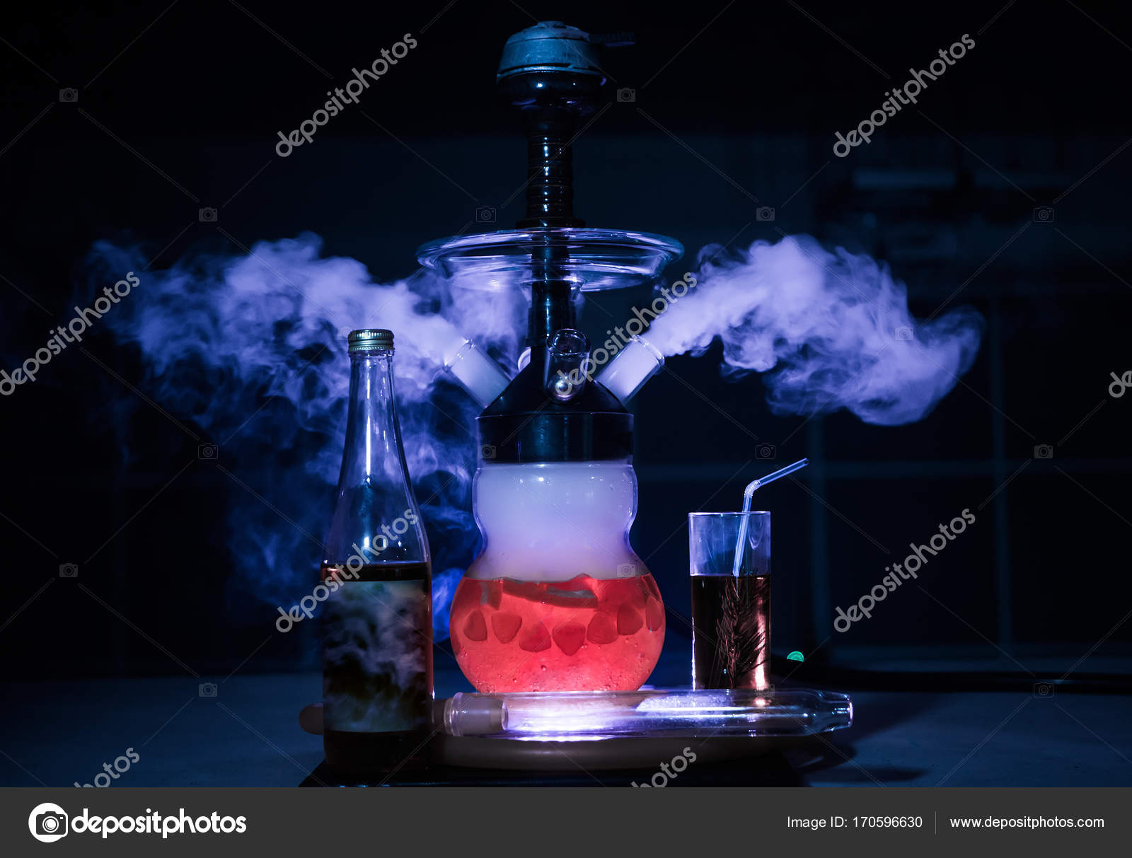 Hookah smoke in cafe & lounge bar — Stock Photo © btxstudio