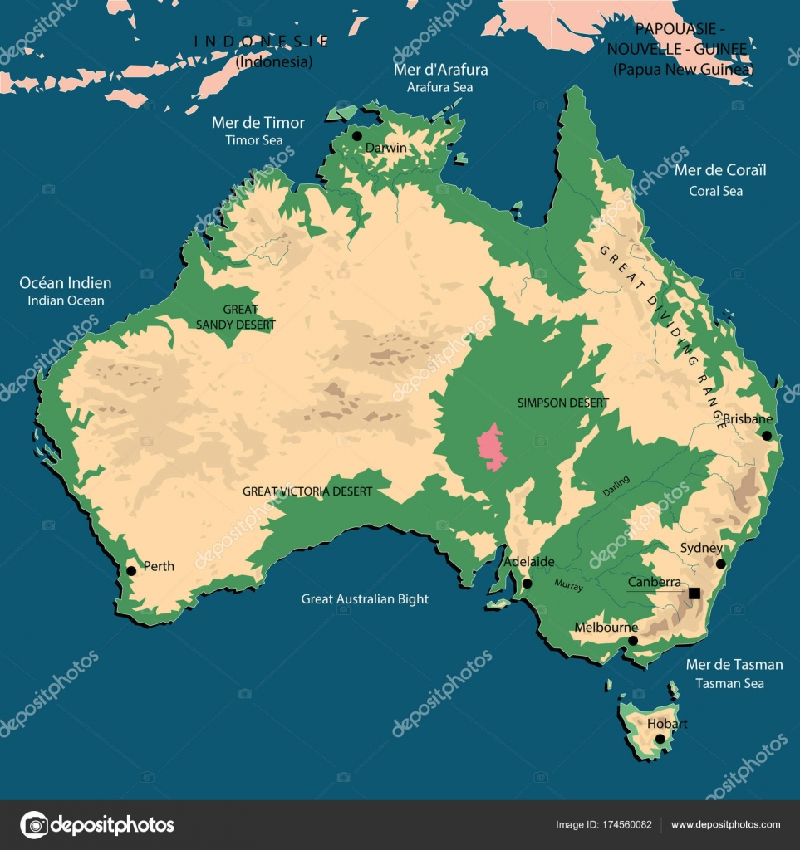 Karta Australien Adelaide.Fysisk Detaljerad Karta Over Australien Stock Vektor