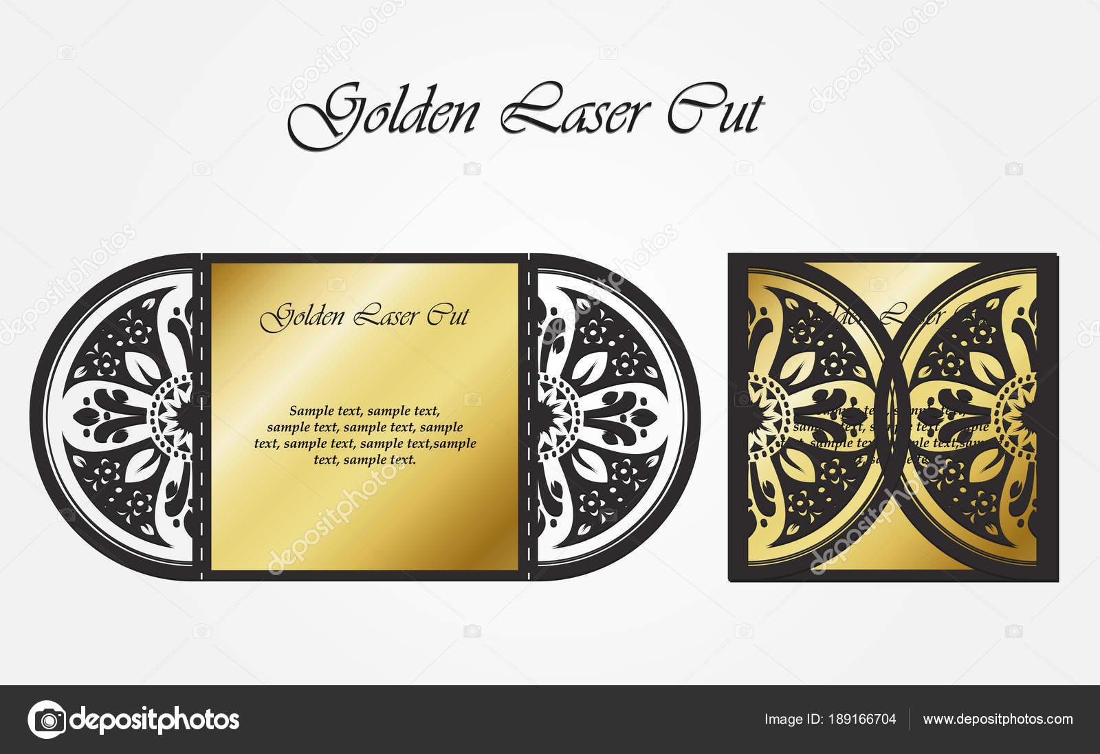 Plantilla De Corte Láser De La Cubierta Sobre De Oro Calada