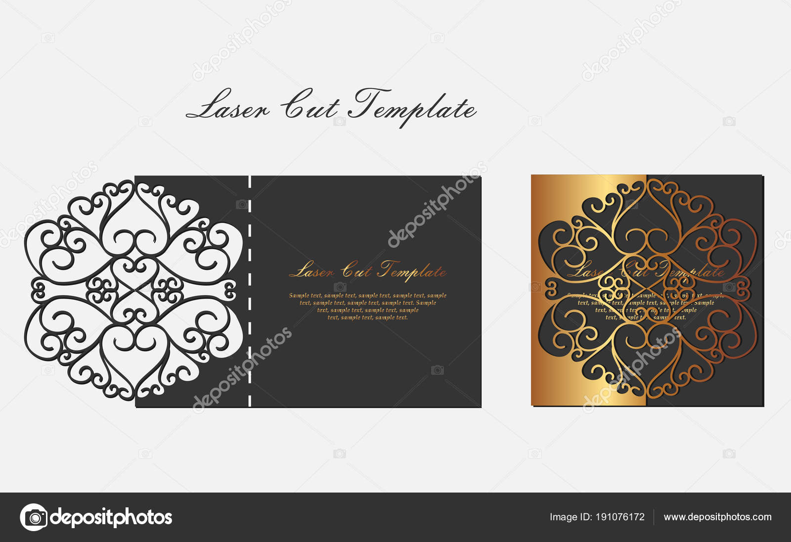 Template for laser cutting envelope with floral ornament in black ...
