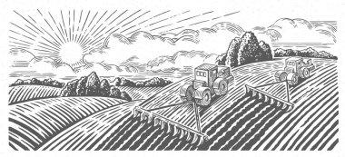 rural farm landscape with tractors