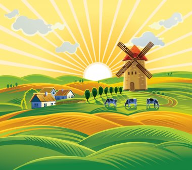 rural farm landscape with windmill
