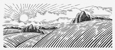 rural monochrome graphic landscape