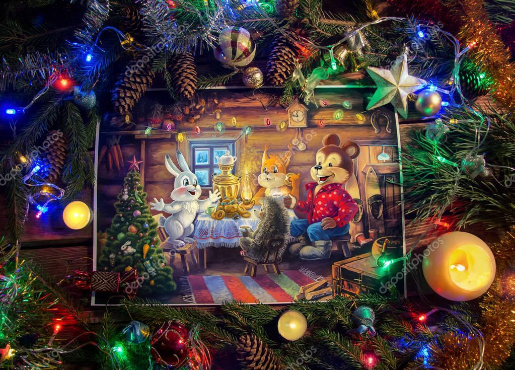 Christmas Illustration in themed environment.