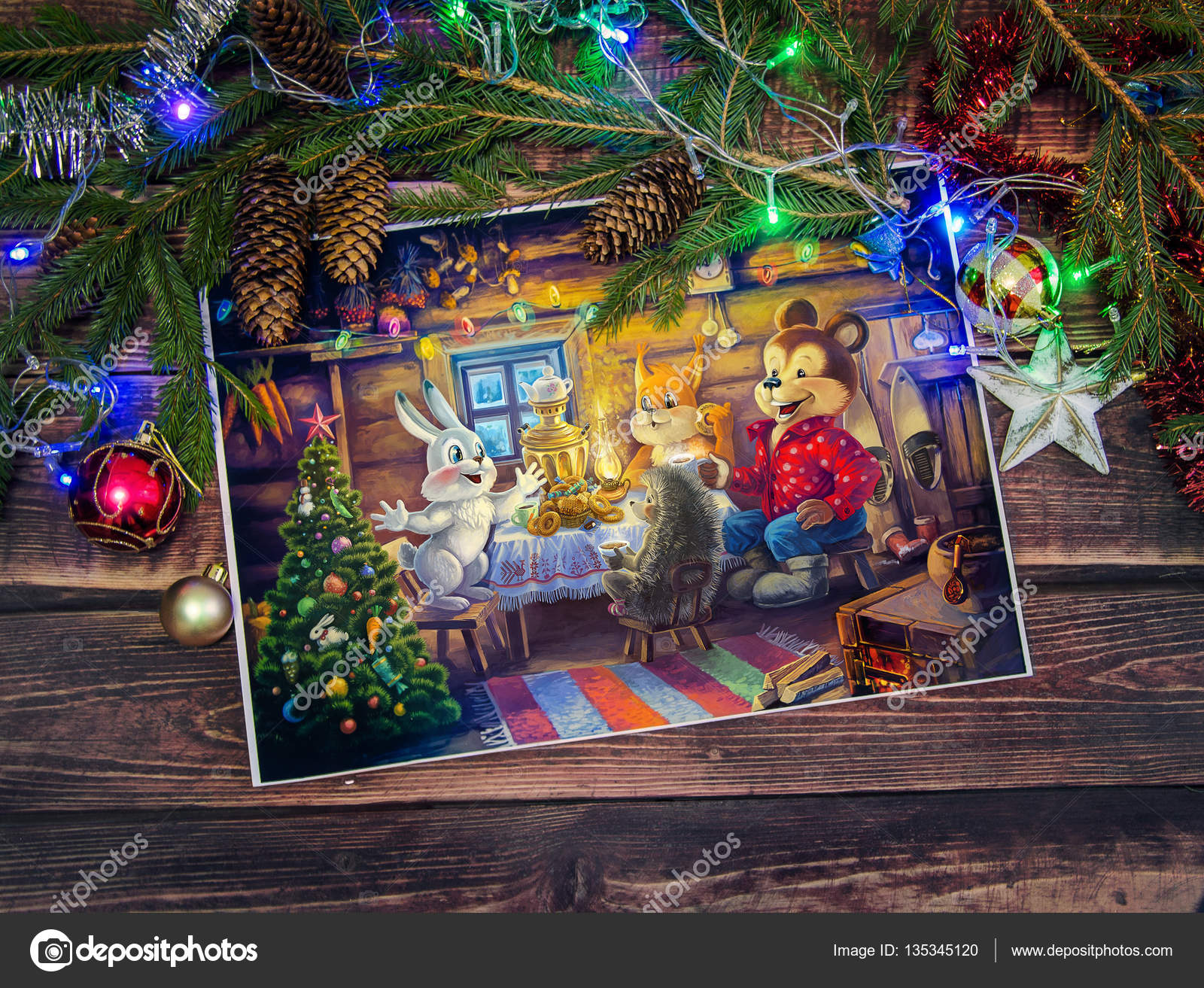 Christmas Funny Animals Stock Photo Crop 135345120