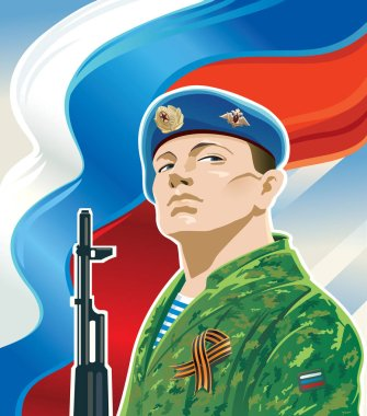 Russian paratrooper on the background of the Russian flag and Kalashnikov. stock vector