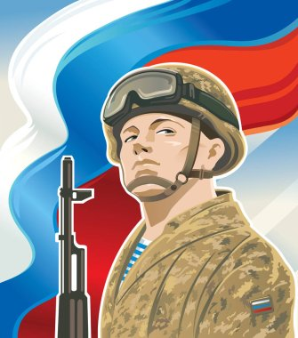 Russian soldiers and Russian flag.