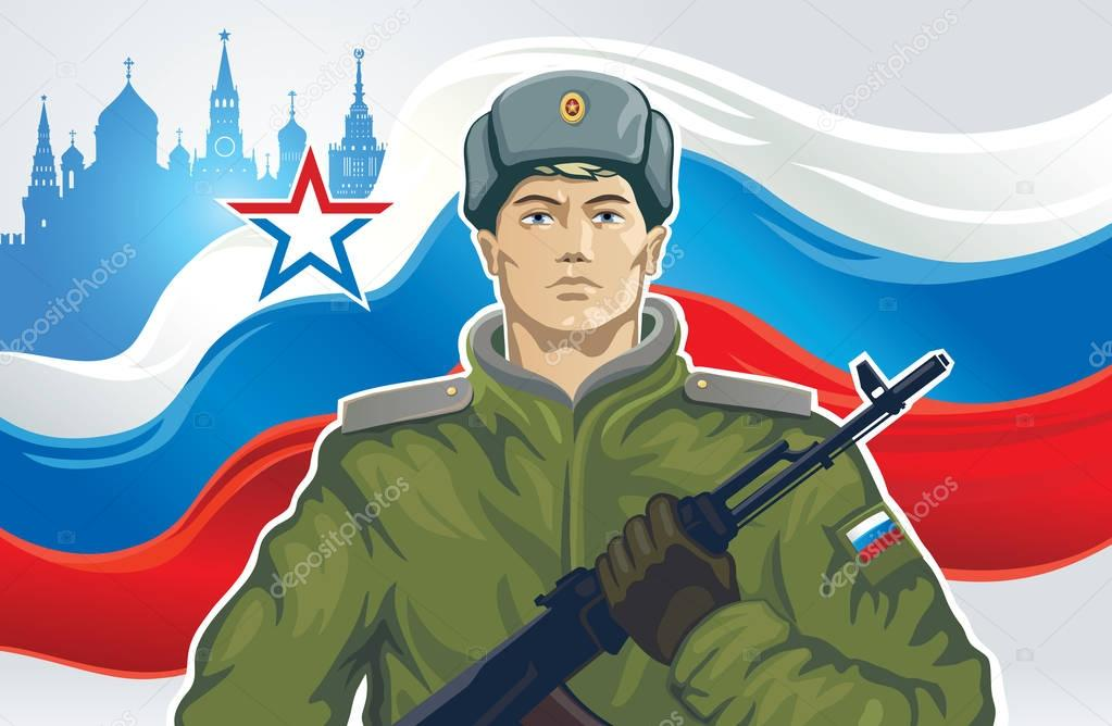 Russian soldier with kalashnikov of the background on Russian flag. stock vector
