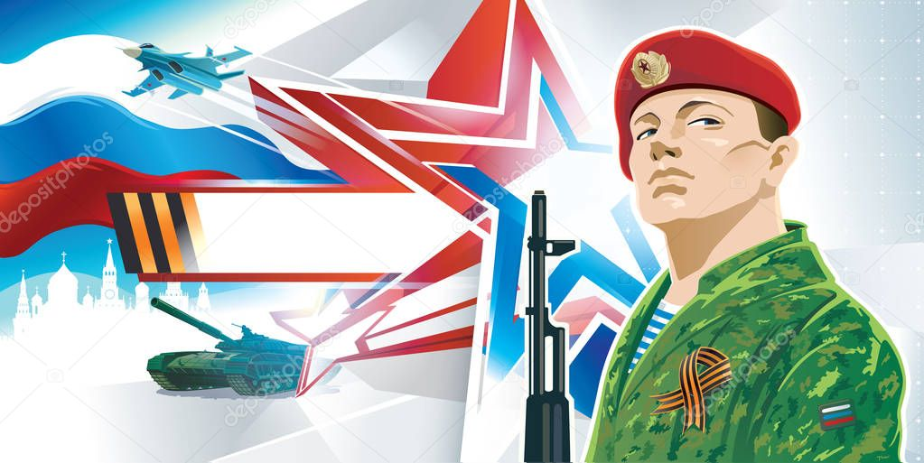 Russian soldier - commando, on the complex background of the Russian patriotic orientation with kalashnikov and george ribbon. stock vector
