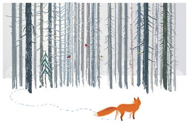 Winter forest landscape with a Fox