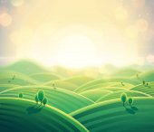 Fotografia Alba di mattina paesaggio rurale sulle colline in stile cartone animato. Illustrazione di vettore