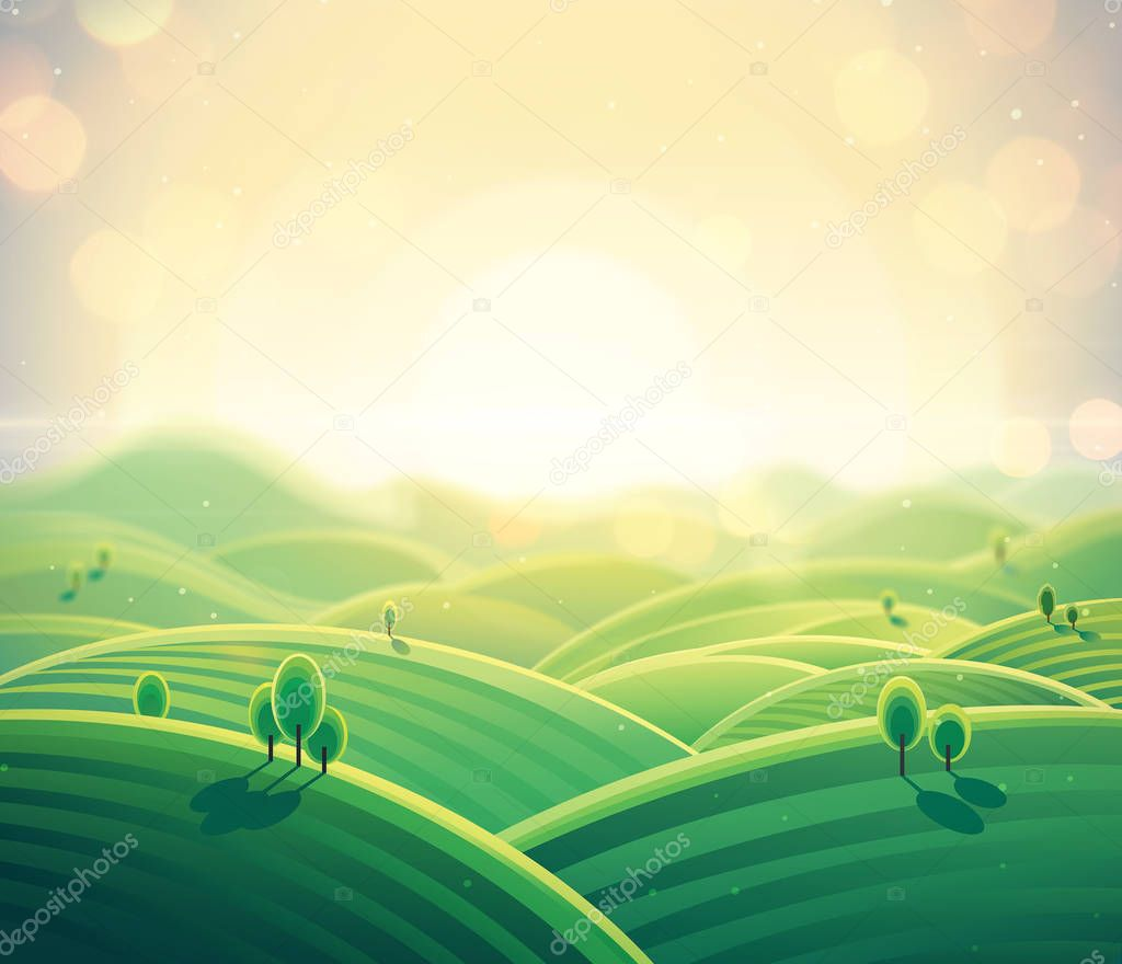 Morning rural landscape sunrise over hills in cartoon style. Vector illustration.