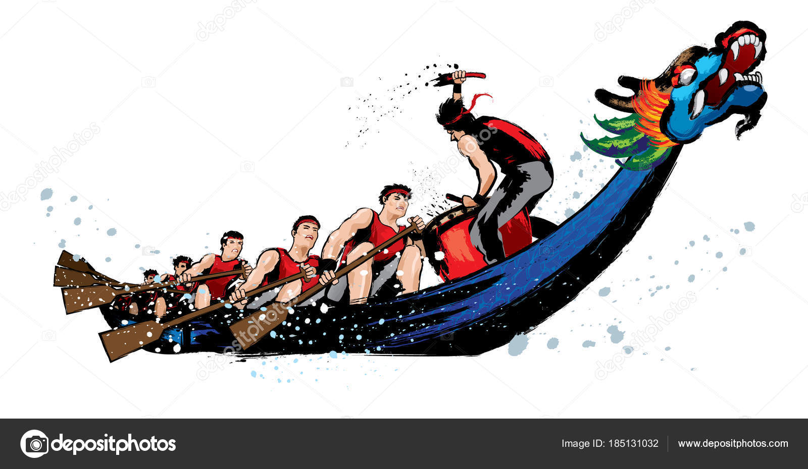 Vector Dragon Boat Racing Chinese Festival Ink Splash Stock
