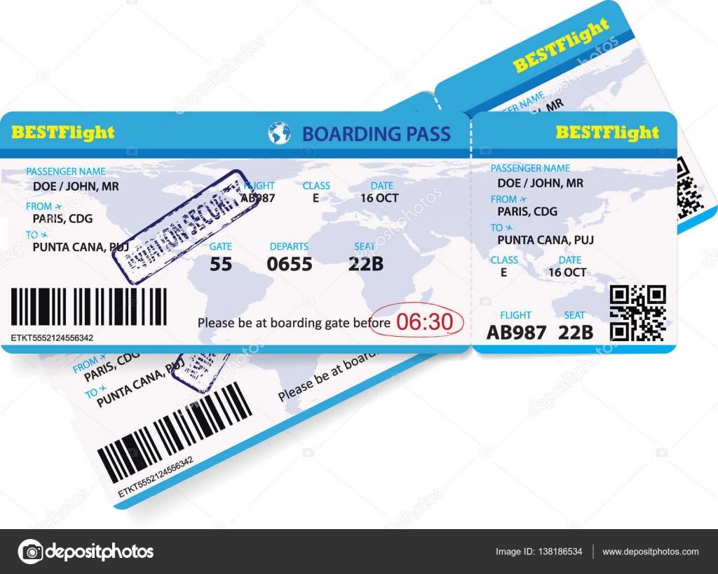 Billete para viajar en avión de embarque — Vector de stock ...