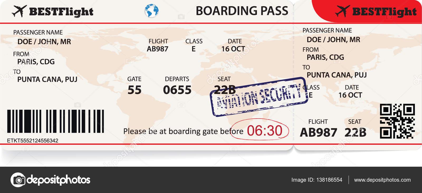 Boarding Pass-Ticket für die Reise mit dem Flugzeug — Stockvektor ...