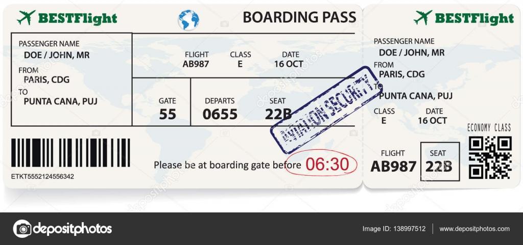 Vorlage der boarding Pass tickets — Stockvektor © orelphoto2 #138997512
