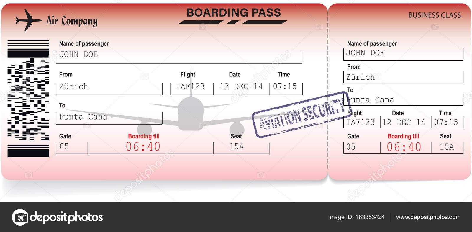 Ilustración de vector de línea aérea boarding pass — Archivo ...