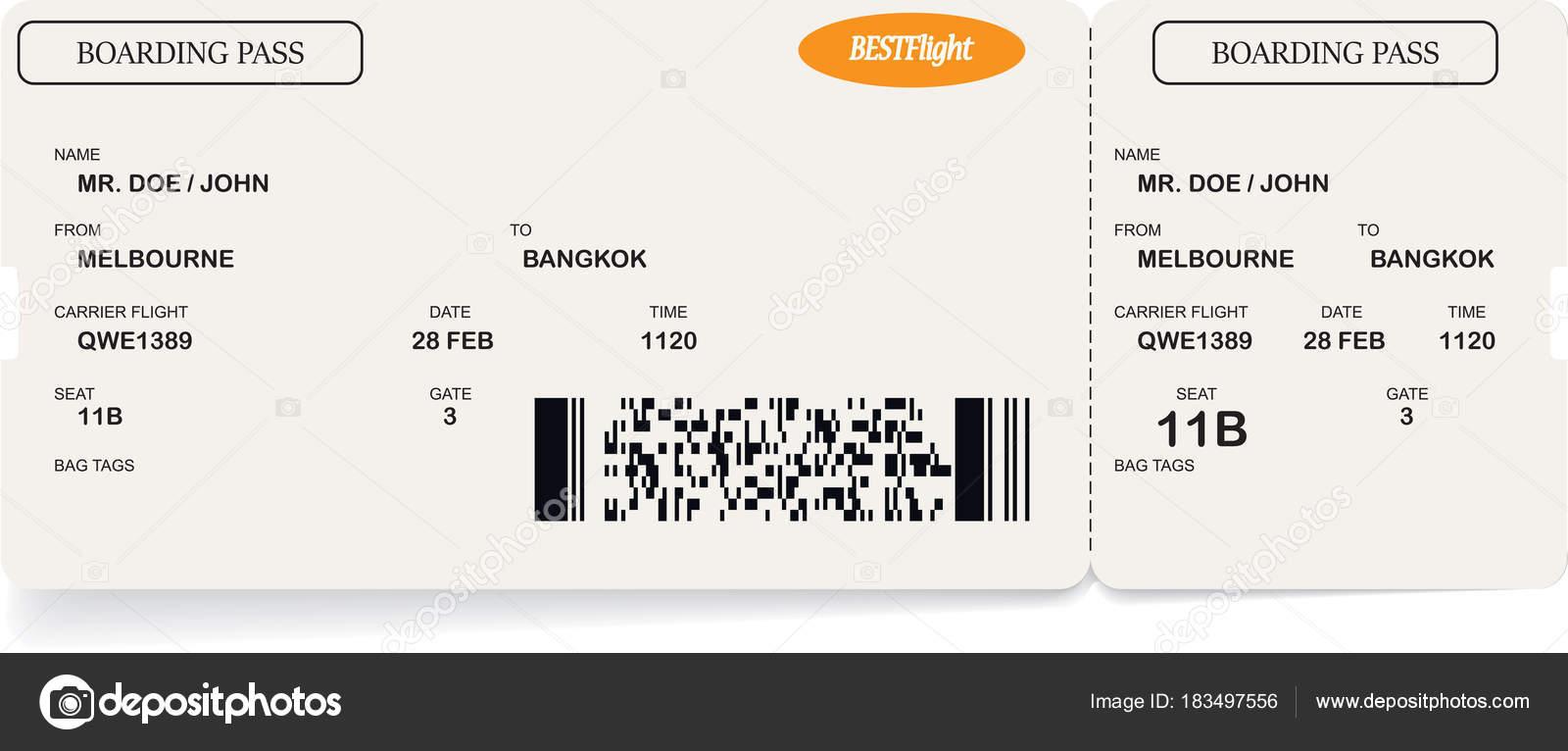 Plantilla de la aerolínea boarding pass ticket — Vector de stock ...